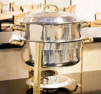 14qt Stainless Round Soup Chafer Tureen Dish Catering Banquet Buffet Food Warmer