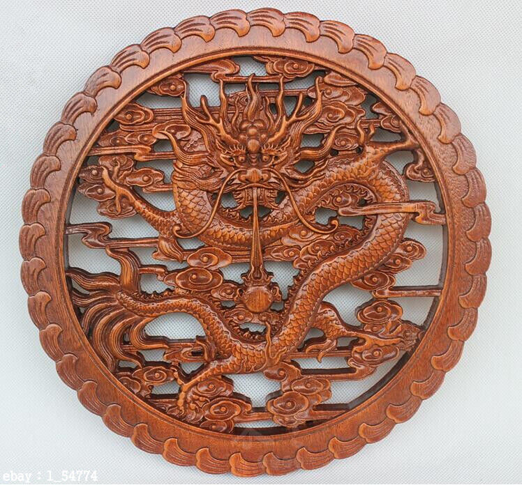 HAND WORK XIANG ZHANG SCULPTOR WOOD CARVED DRAGON WALL PANEL