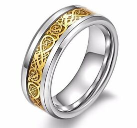 Men's Celtic Dragon Stainless Steel Titanium Wedding Band Ring Gold Silver