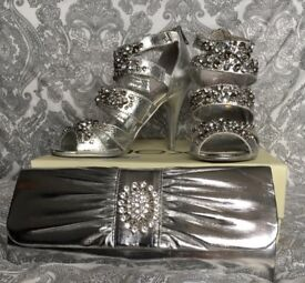 Next Silver Evening Shoes & Clutch Bag