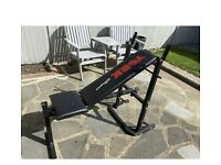 Free bench press and weights and bar