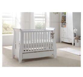 BABY TODDLER COT TUTTI BAMBINI KATIE SLIEGH BED WHITE FOAM MATTRESS INC
