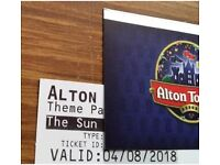 Alton Towers Tickets Saturday 4th August