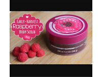 "The body shop raspberry body scrub "" Brand New"""