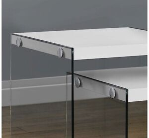 2 nesting side tables - gloss white on top with glass sides