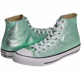 Converse hi tops. Size 9UK. Shiny mint green. RRP 70.