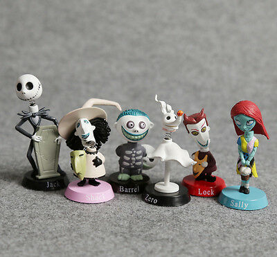 6pcs set The Nightmare Before Christmas Jack Sally Bobble head Figure doll toys