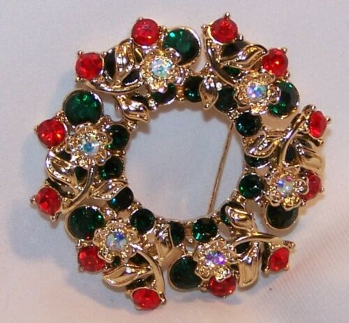 MONET Rhinestone Christmas Wreath Pin Brooch-Layered-Red Green Clear-Signed-NEW
