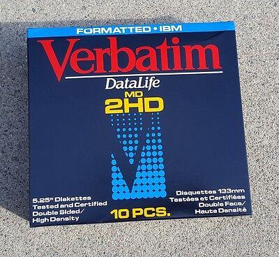 New VERBATIM 5.25 DS/HD floppy disks. Sealed box of 10 (5 1/4 floppy diskettes)