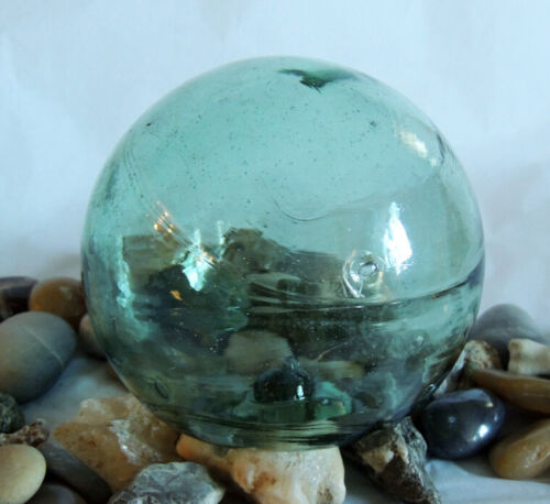 """15"""" In Circumference Japanese Glass FISHING FLOAT True Spindle Attached Inside"""