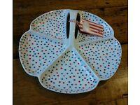 Retro look blue and retro polka dot hostess serving tray