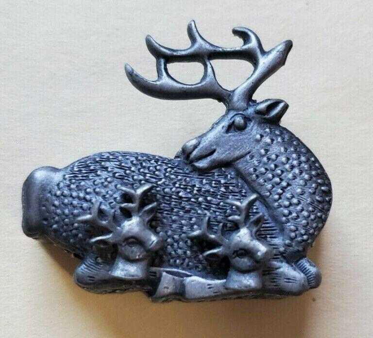 Vintage Brooch, Earrings, Necklace Jewlery Set, Deer with Antlers