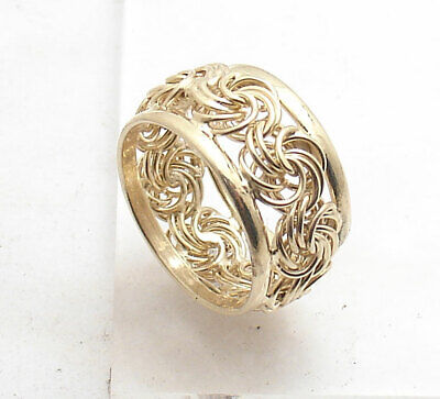 Size 7.5 Technibond Double Border Rosette Band Ring 14K Yellow Gold Clad Silver  Gold Double Border