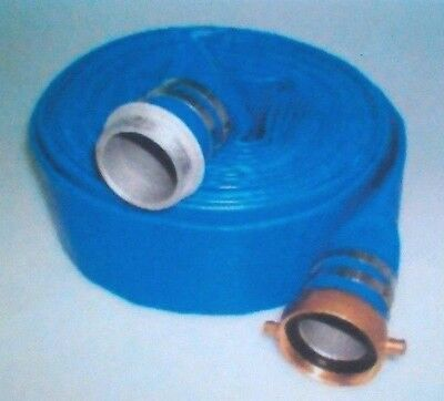 2 X 50 Blue Pvc Lay Flat Water Discharge Hose With Mf Npsh Couplings