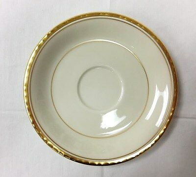 """PICKARD """"REFLECTIONS"""" TEA SAUCER 6"""" GOLD IVORY PORCELAIN MADE IN U.S.A."""