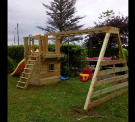 Outdoor Wooden kids Climbing frames swing slide tower bars