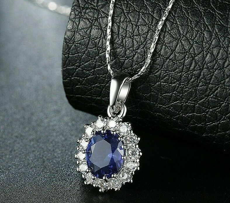925 Sterling Silver Oval Blue Sapphire White Topaz Pendant 1