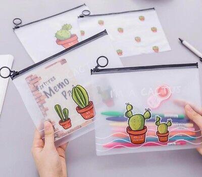 Transparent File Folder Document Filing Stationery Bag Cute Designed Paper Cases