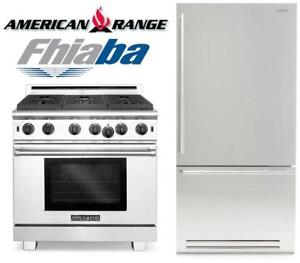 "https://aniks.ca/ Professional American Range 36"" ARR366 Gas Range Fhiaba 36"" BKI36BIRS Built-In Fridge"