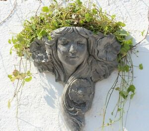 Stone Wall Planter,  Art Nouveau Flower Lady, Garden Wall Decor, Ornament, Gift