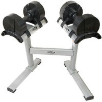 NEW eSPORT  Twist Lock Adjustable Dumbbells with Stand (5lb-50lb