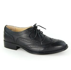 WOMENS FLAT BROGUE LACE UP SMART OFFICE VINTAGE OXFORD LADIES SHOES SIZE