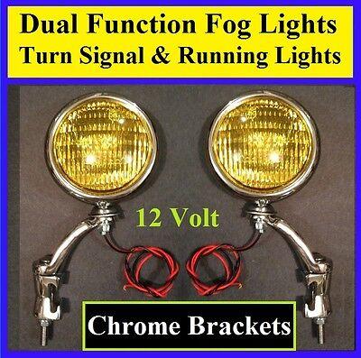 "12 Volt Turn Signal 5"" Amber Fog Running Lights & Chrome Brackets Car Truck 1"