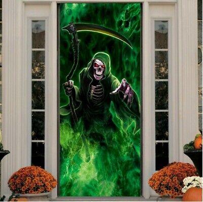Glowing Grim Reaper Halloween Haunted House Skeleton Door Cover Prop/Decoration
