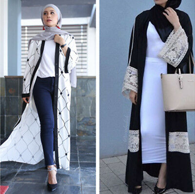Open Abaya Muslim Women Long Maxi Dress Dubai Cardigan Islamic Jilbab Kaftan New