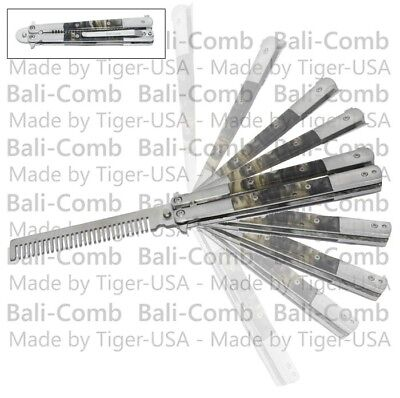 NEW Practice Training Butterfly Knife Black Handle Balisong Knives Combs