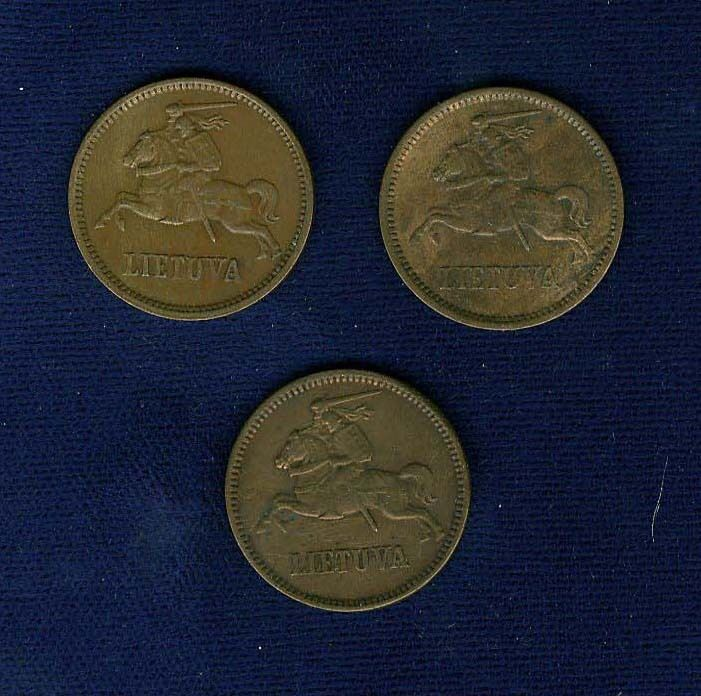 """LITHUANIA 1936  5 """"CENTU""""  COINS, LOT OF (3), XF to  ALMOST UNCIRCULATED"""