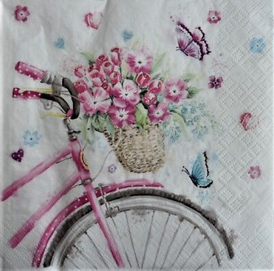 20 x Paper Napkins Bicycle with Basket for Table Party and Decoupage 123