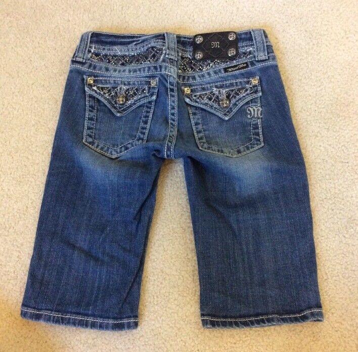 Girls Miss Me Stretch Jean Bermuda Shorts Flap Pockets Rhinestones JK6015M Sz 14