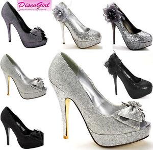 Ladies-Sparkle-Corsage-Glitter-Bow-Platform-Wedding-Formal-Evening-Shoe