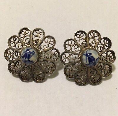 Vtg Sterling Silver Filigree Delft Blue White Porcelain Screw on Earrings