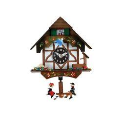 River City Clocks 2070Q-06 Quartz Novelty Clock German Chalet with Bird & Well,