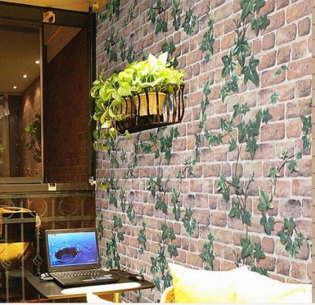 45cm*10m Roll Ivy/Brick Prepasted Self Adhesive Contact Paper Wallpaper Q