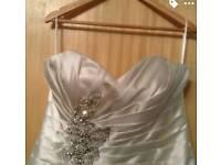 Brand new wedding dress, veil, bolero and dress hoop