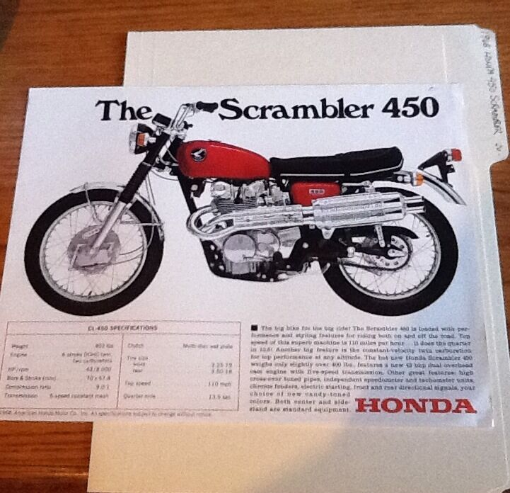 1968 HONDA SCRAMBLER MOTORCYCLE SPEC FLYER