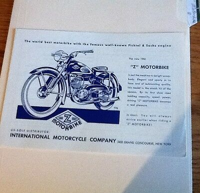 1953 International Motorcycle Co Z Motorbike Tech Data Brochure