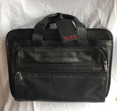 TUMI Alpha Black Leather ESSENTIAL BRIEF Laptop Computer Case Carry Bag 26130D4