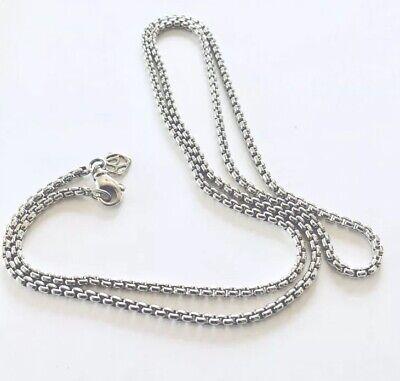 "- David Yurman 26"" Small Box Chain Necklace 2.7mm 925 Sterling Silver 14k Logo EUC"