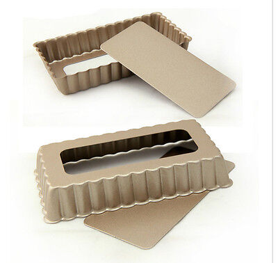 2 Mini Rectangle Tart Pan Fluted Quiche Pan Loose Bottom Bakeware 4.5x2.5