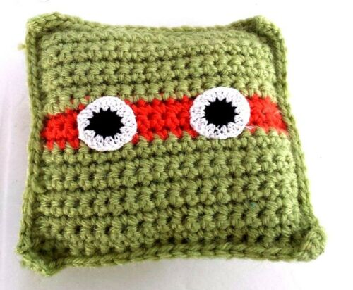 Crochet Tooth fairy pillow Michelangelo Ninja turtles handmade new