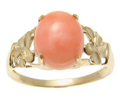 Natural Pink Coral Flower (GENUINE NATURAL PINK CORAL RING HAWAIIAN PLUMERIA FLOWER SOLID 14K YELLOW)