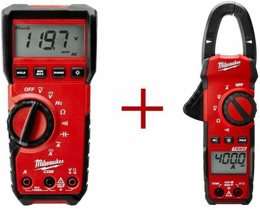 Milwaukee Multimeter Digital w Clamp Meter 400 Amp Bundle Ba