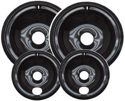 Range Stove Drip Pans Porcelain Burner Bowls 4pc Set (2x6