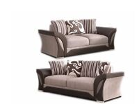 Furniture Sale-SHANNON SOFA- BRAND NEW FABRIC & FAUX LEATHER LEFT / RIGHT CORNER/3+2 SEATER