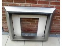 Stainless Steel & Marble Fire Surround plus Marble Hearth