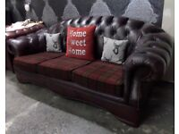 Stunning Chesterfield Hump Back 3 Seater Sofa Oxblood Leather - Uk Delivery